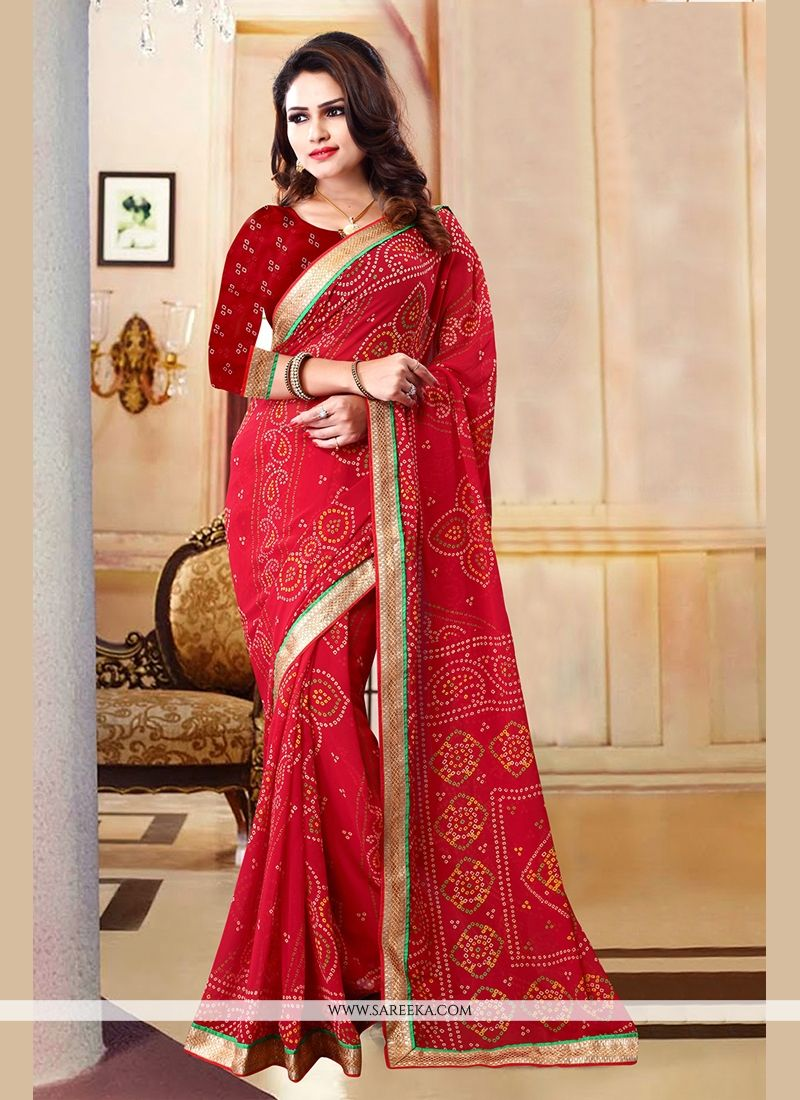 Georgette Maroon Patch Border Work Casual Saree