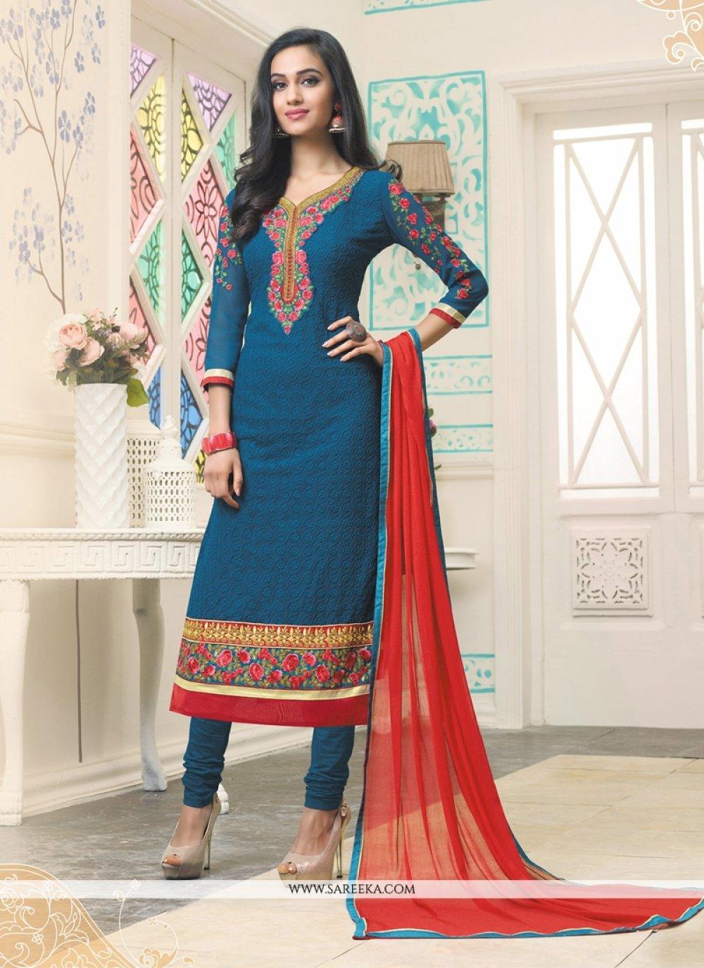 Resham Work Georgette Churidar Designer Suit