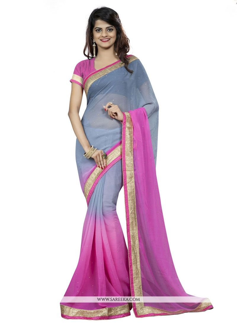 Pink Patch Border Work Faux Chiffon Casual Saree