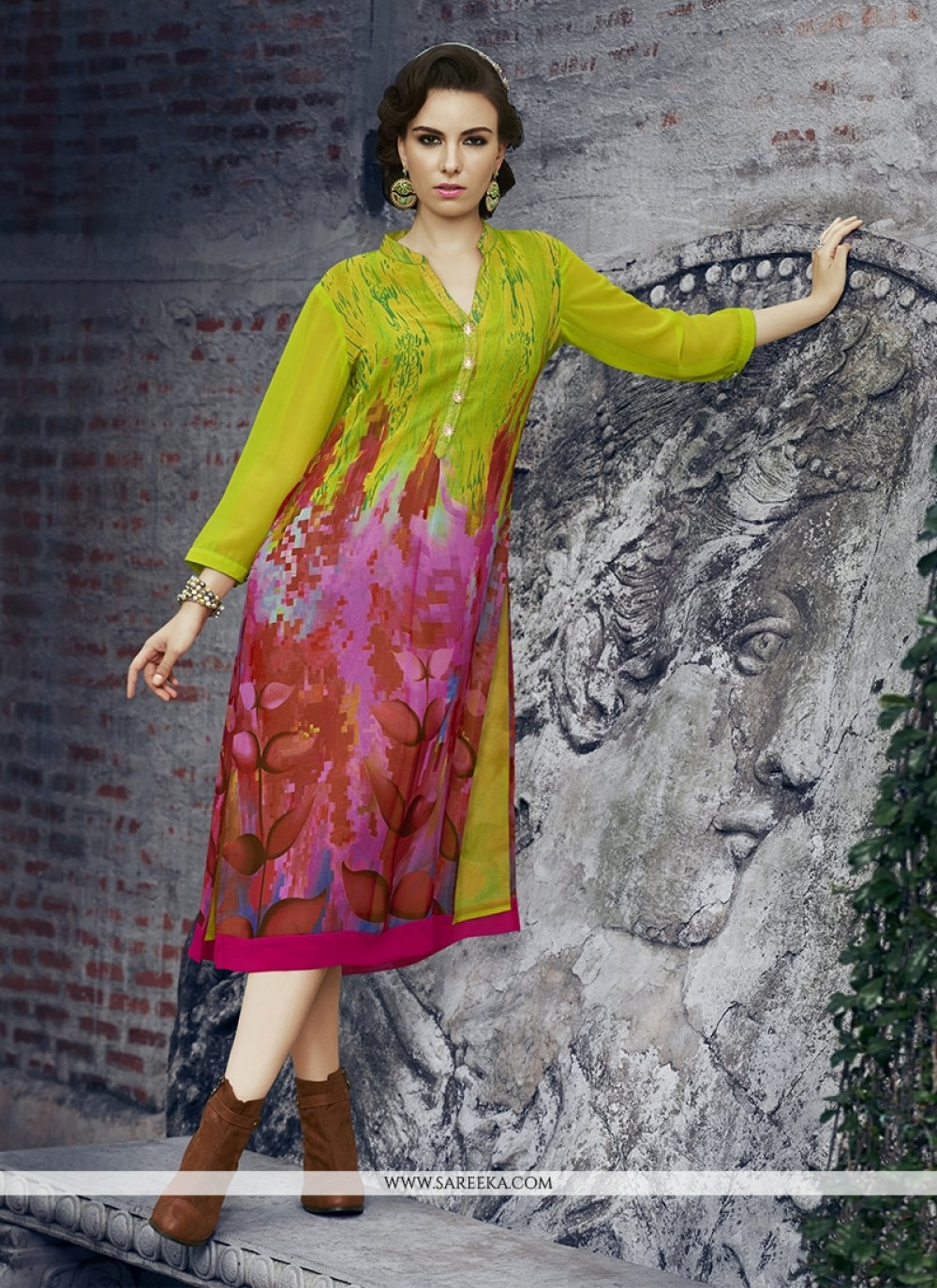 Print Work Georgette Party Wear Kurti