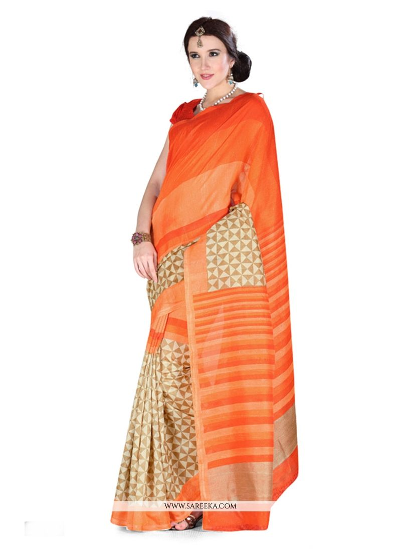 Art Silk Orange Casual Saree