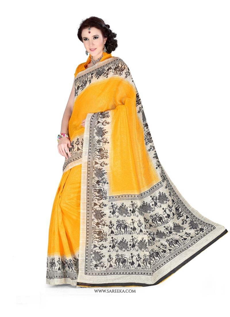 Art Silk Yellow Print Work Casual Saree