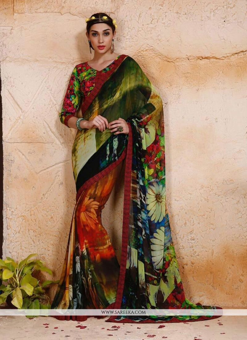 Digital Print Work Georgette Designer Saree