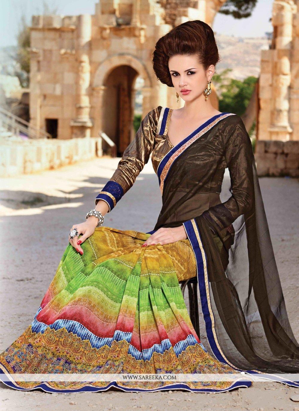 Faux Crepe Multi Colour Designer Saree