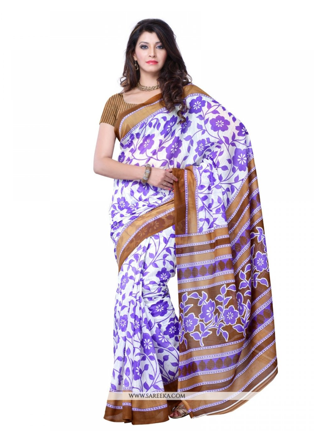 Art Silk Multi Colour Print Work Casual Saree