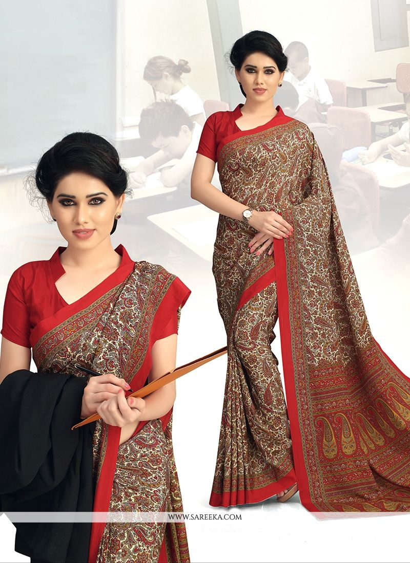 Brown Print Work Faux Crepe Casual Saree