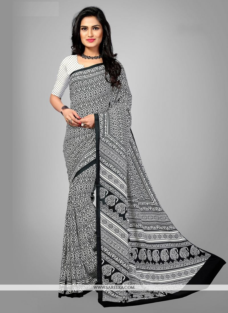 Faux Crepe Multi Colour Print Work Casual Saree