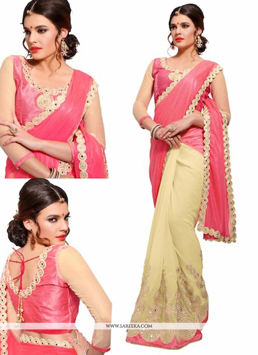 Lycra Designer Half N Half saree
