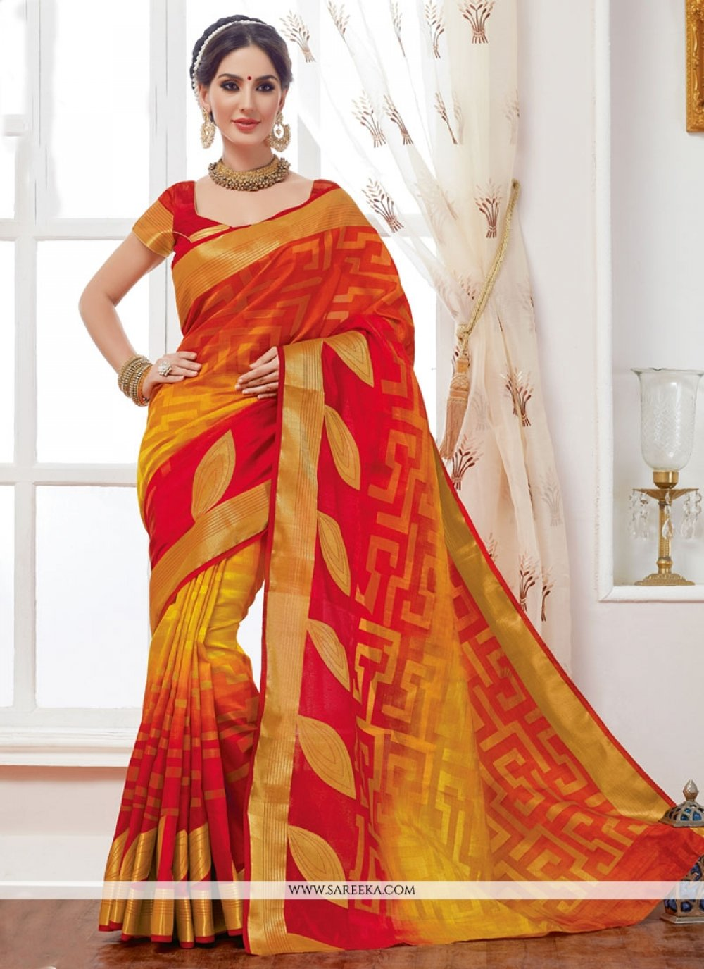 Print Work Red and Yellow Jacquard Designer Saree