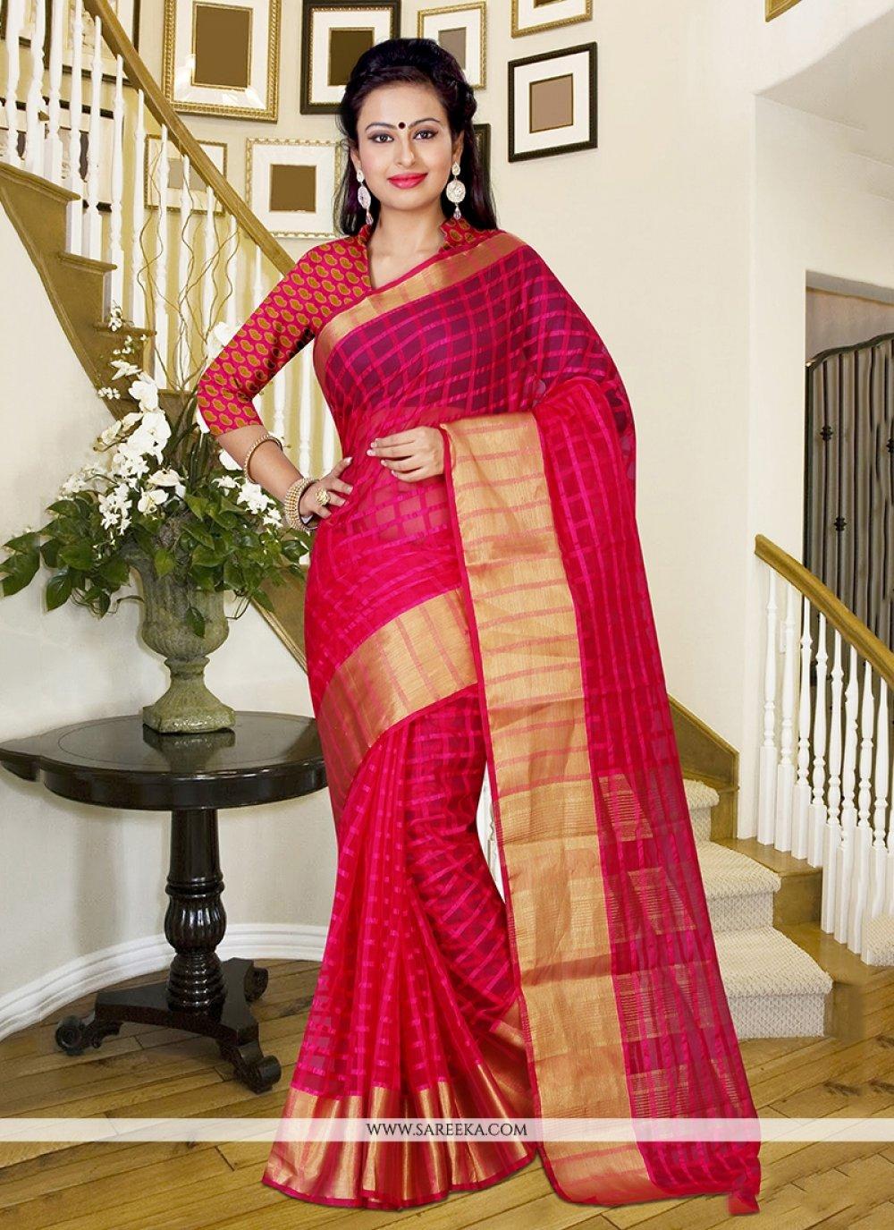 Silk Hot Pink Saree