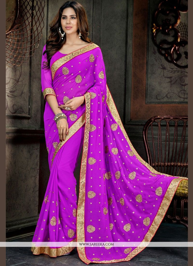 Violet Patch Border Work Georgette Designer Saree