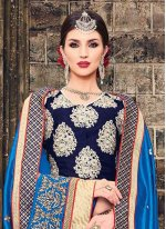 Beige and Blue Embroidered Work Raw Silk Traditional  Saree