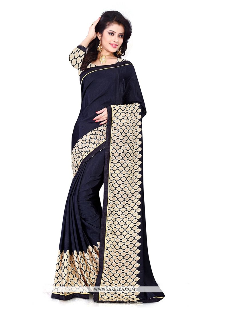Chiffon Satin Navy Blue Patch Border Work Casual Saree