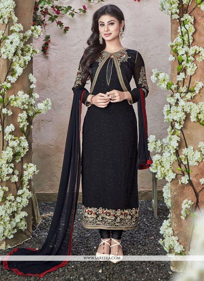 Georgette Designer Straight Salwar Kameez