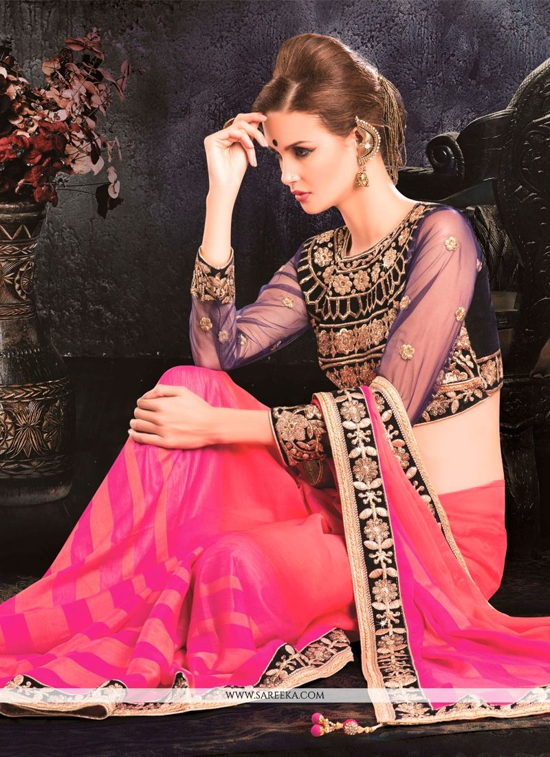 Jacquard Hot Pink Embroidered Work Classic Designer Saree