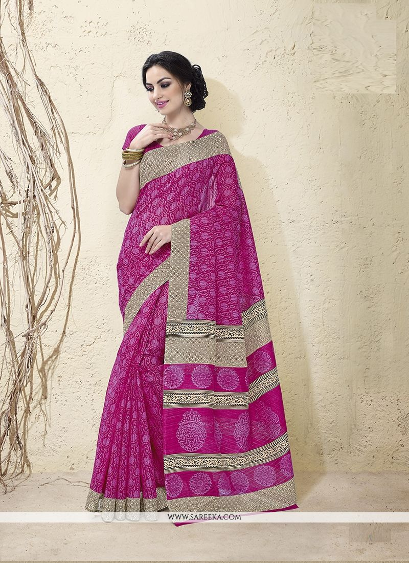 Magenta Patch Border Work Casual Saree