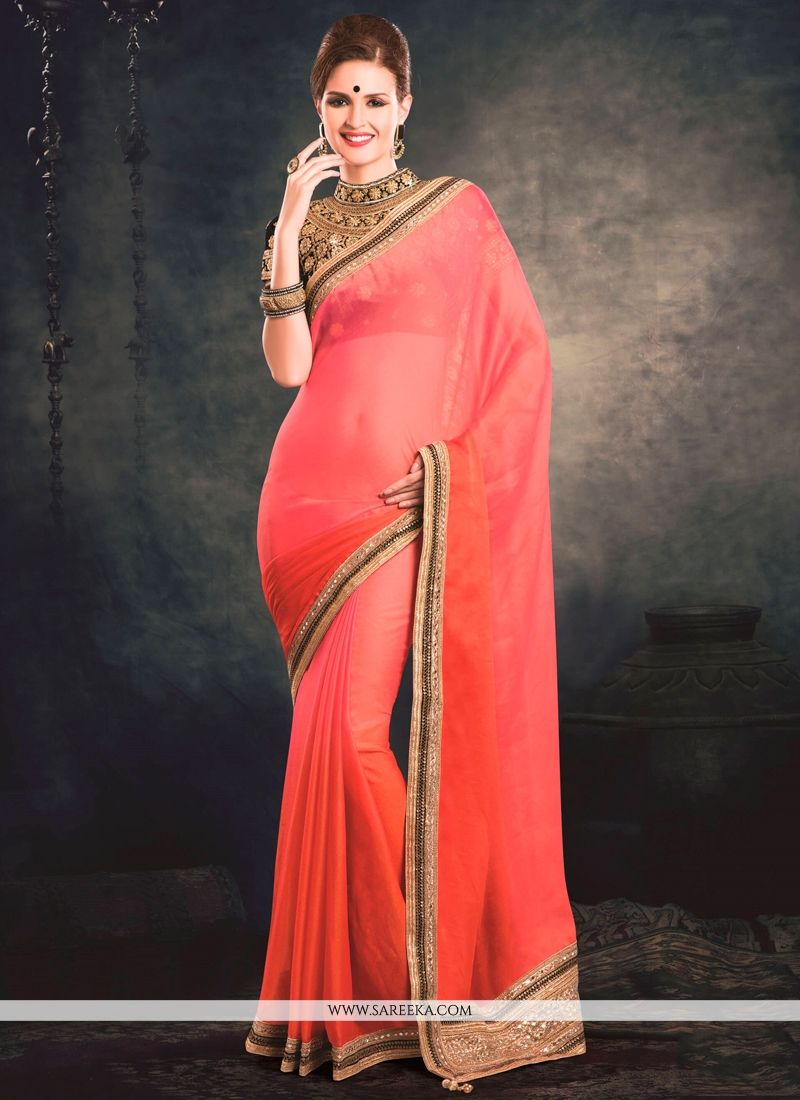 Orange and Pink Embroidered Work Faux Chiffon Classic Designer Saree