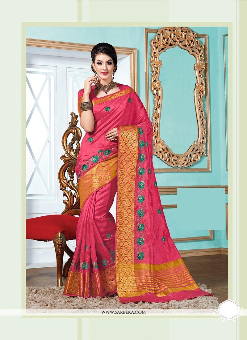 Tussar Silk Hot Pink Designer Saree