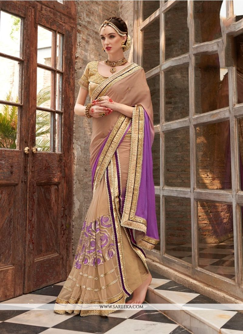 Faux Chiffon Purple Embroidered Work Designer Saree