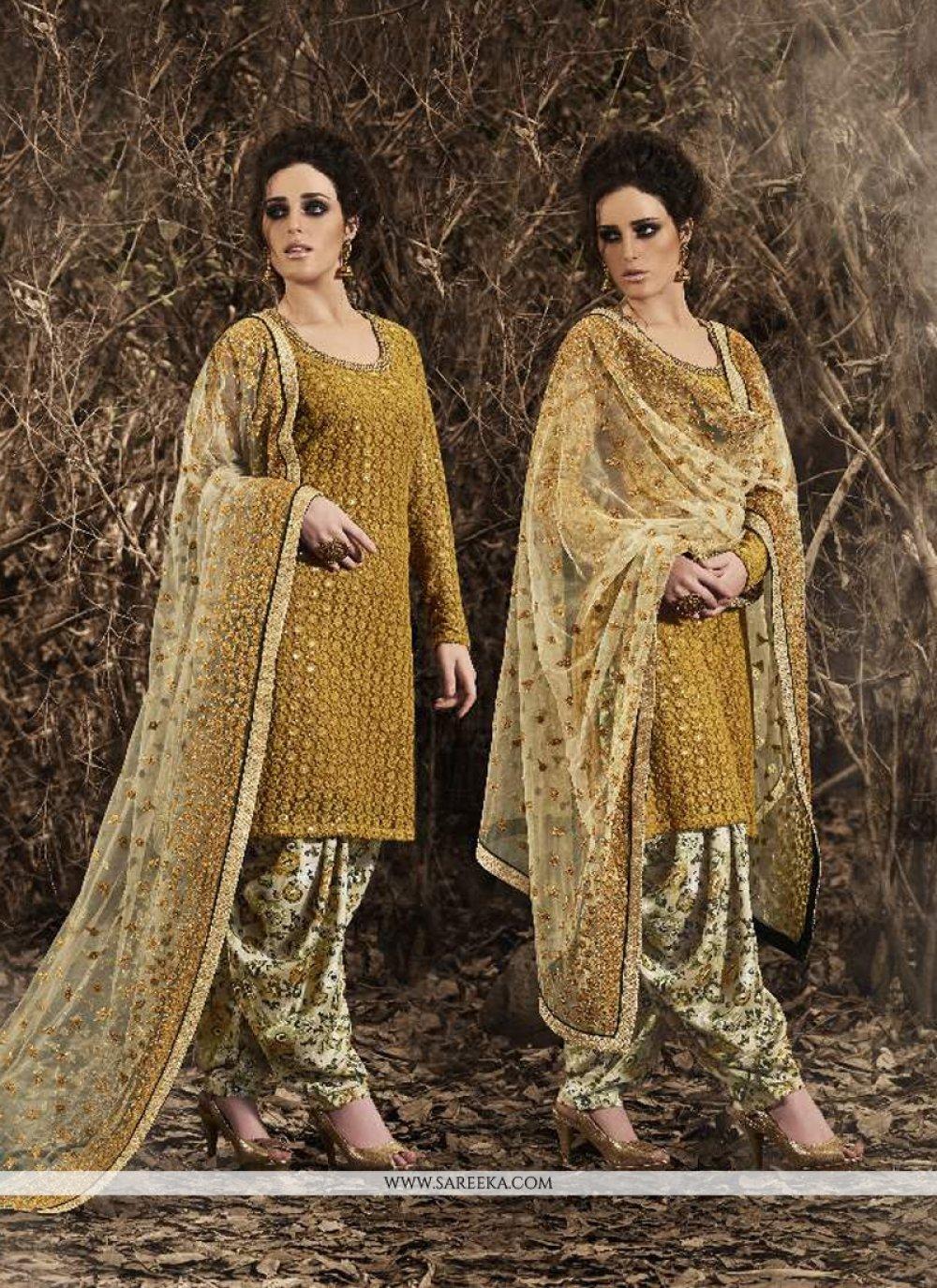 Net Mustard Punjabi Suit