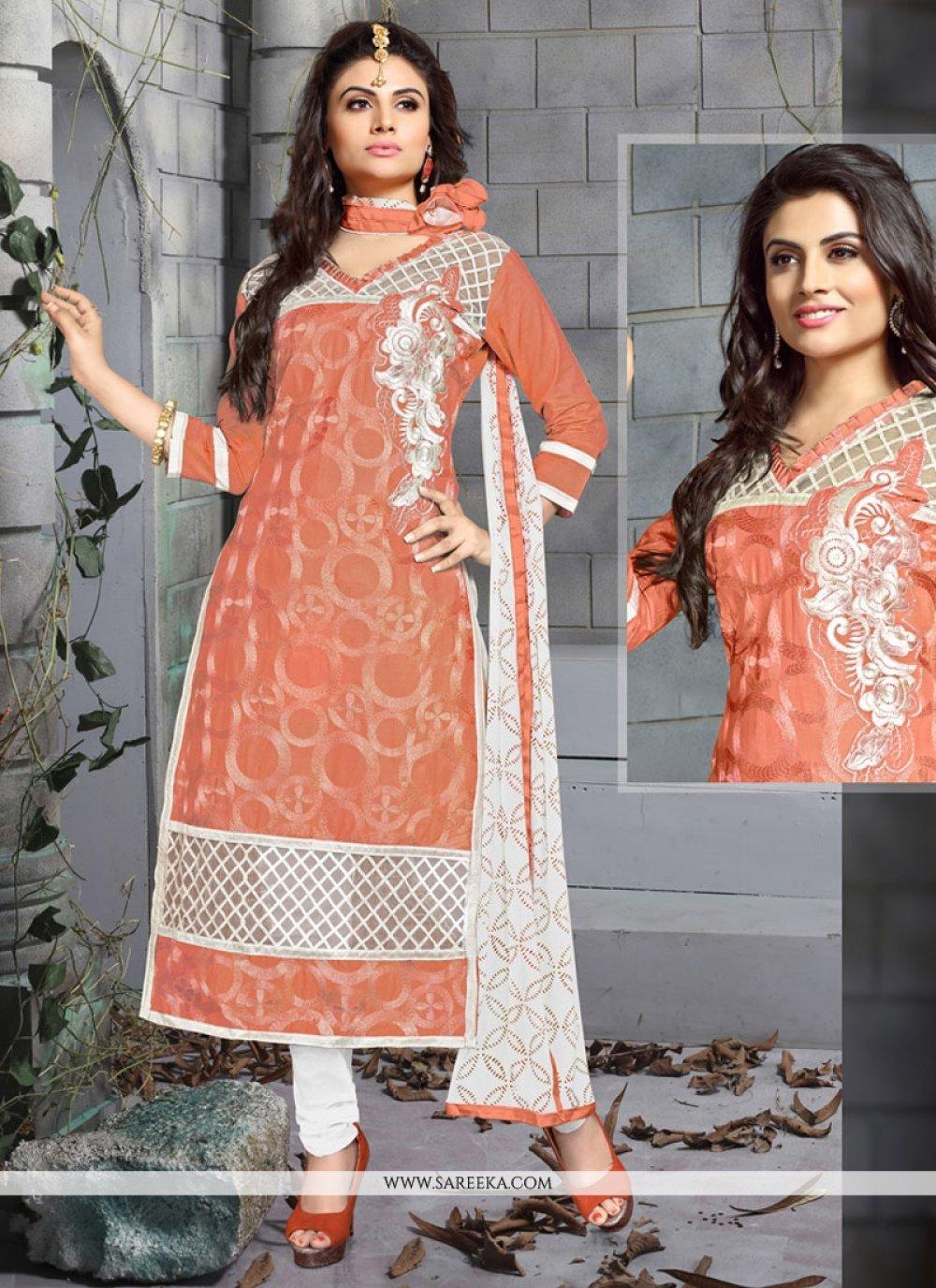 Resham Work Peach Chanderi Cotton Churidar Designer Suit