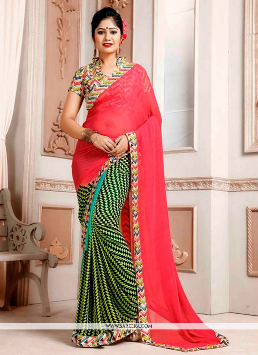 Weight Less Green and Peach Print Work Printed Saree