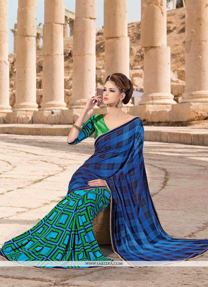 Faux Crepe Patch Border Work Designer Saree