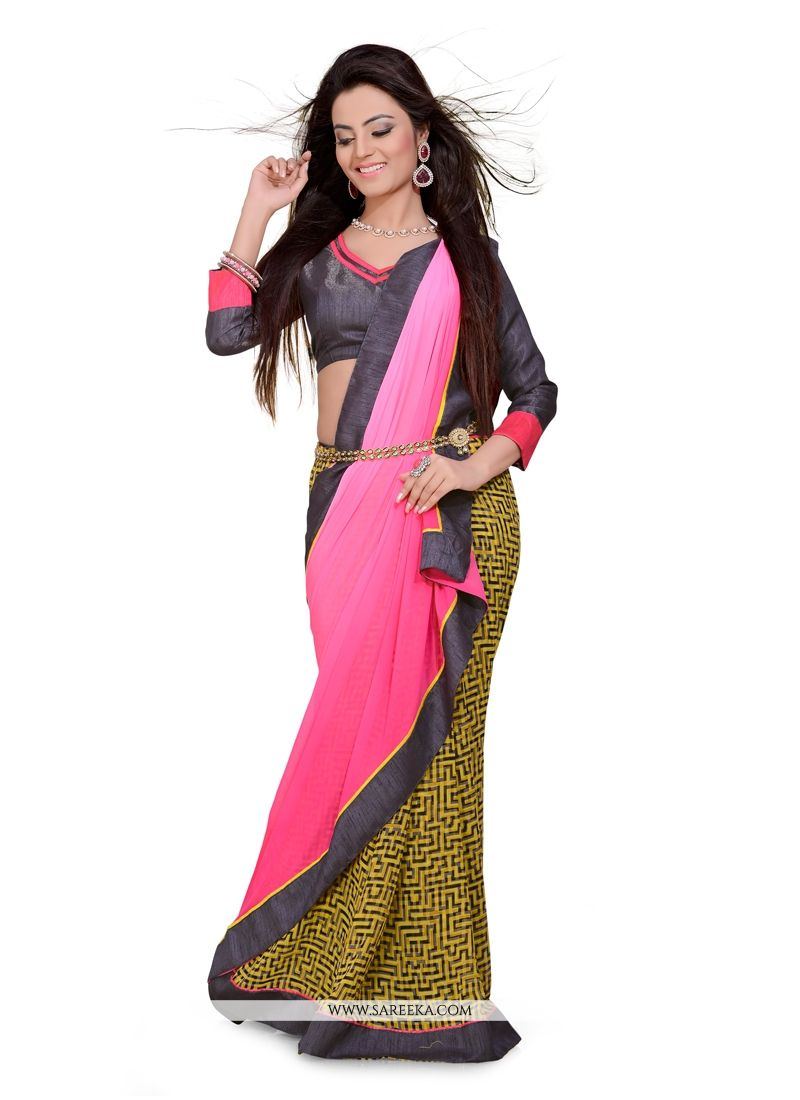 Georgette Green Print Work Casual Saree