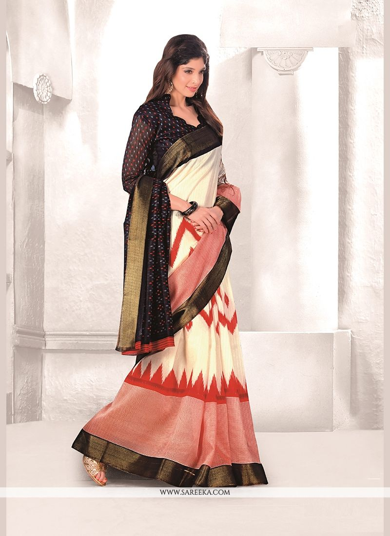 Mysore Udyog Off White Print Work Casual Saree