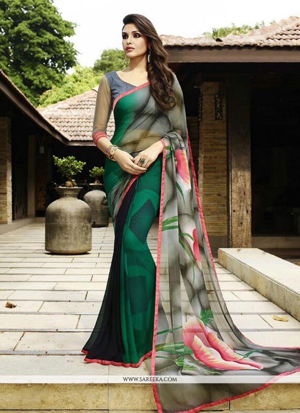 Print Work Multi Colour Georgette Designer Saree