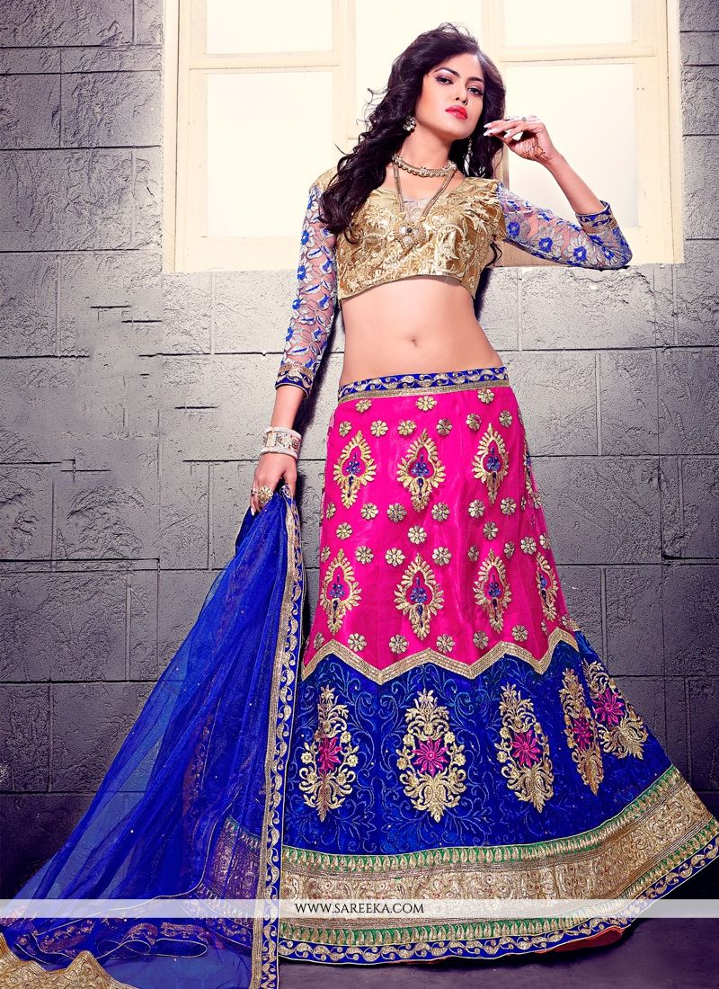 Blue and Pink Patch Border Work A Line Lehenga Choli