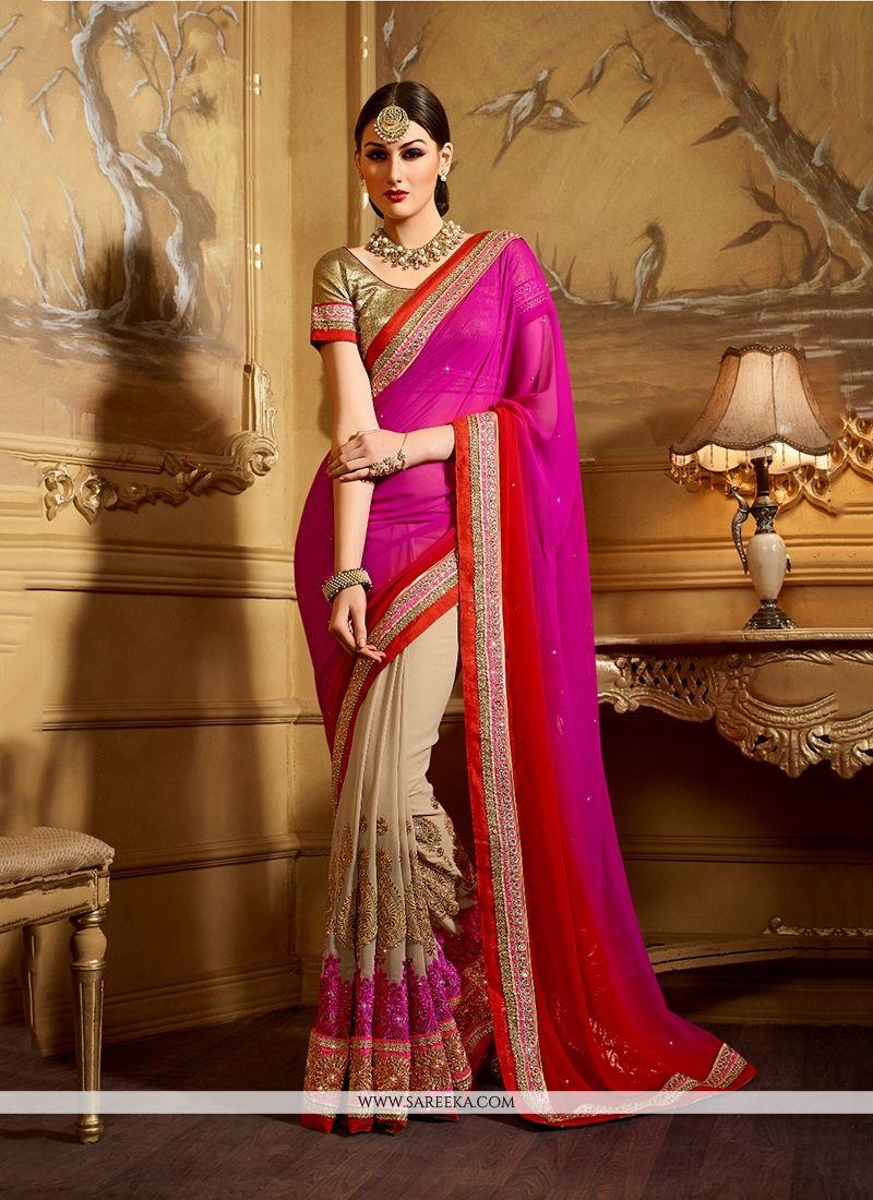 Embroidered Work Hot Pink Classic Designer Saree