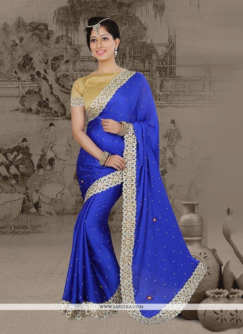Blue Chiffon Satin Classic Designer Saree