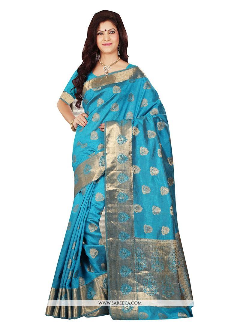Blue Patch Border Work Art Silk Designer Saree