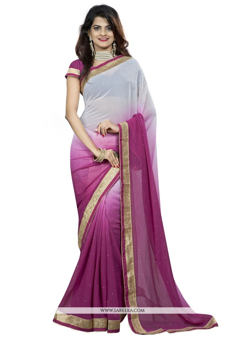 Faux Chiffon Patch Border Work Casual Saree