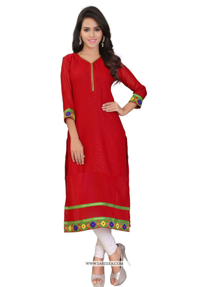 Red Lace Work Party Wear Kurti