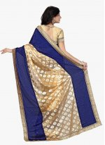 Beige and Blue Faux Crepe Traditional  Saree