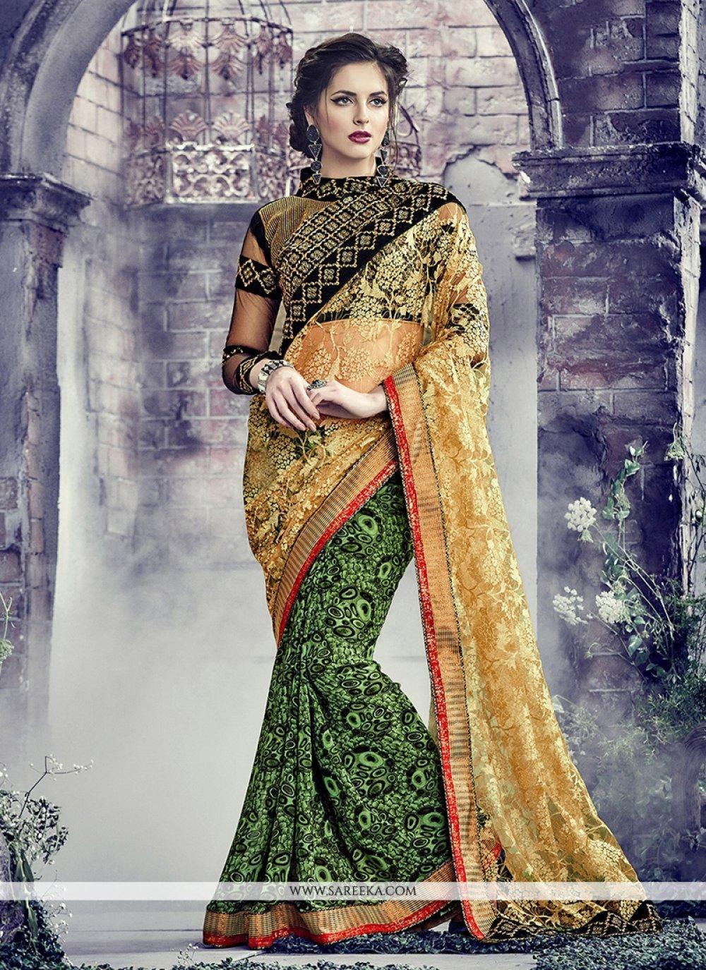 Green Embroidered Work Net Designer Saree