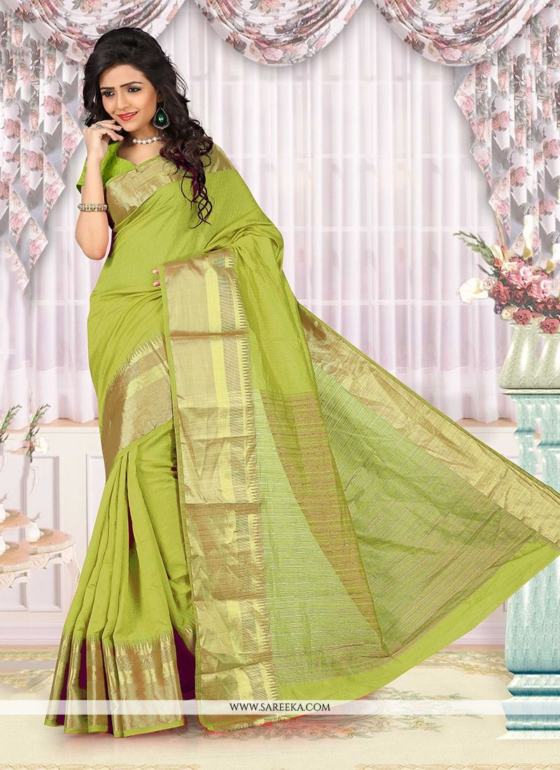Green Patch Border Work Cotton   Casual Saree