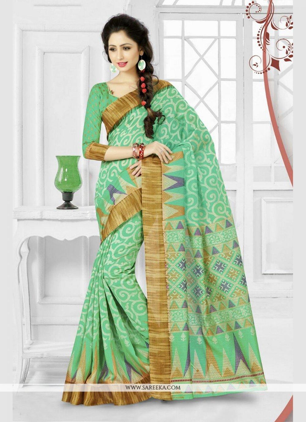 Green Print Work Silk Printed Saree