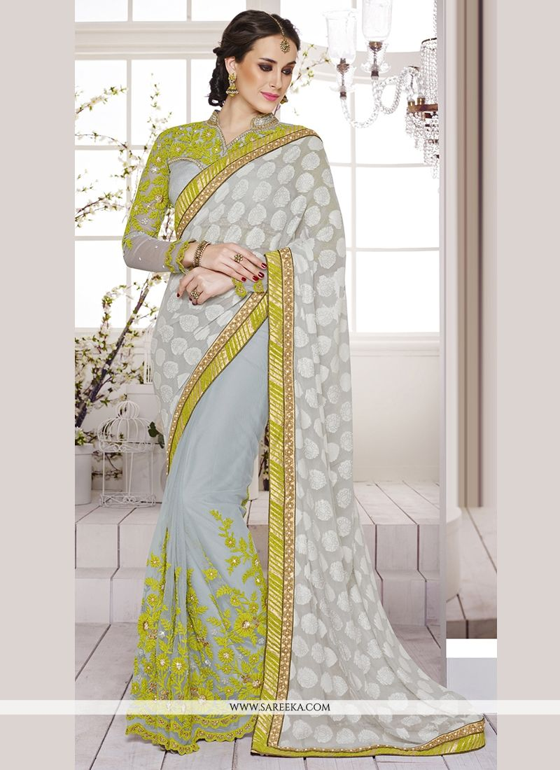 Grey Embroidered Work Faux Chiffon Classic Designer Saree