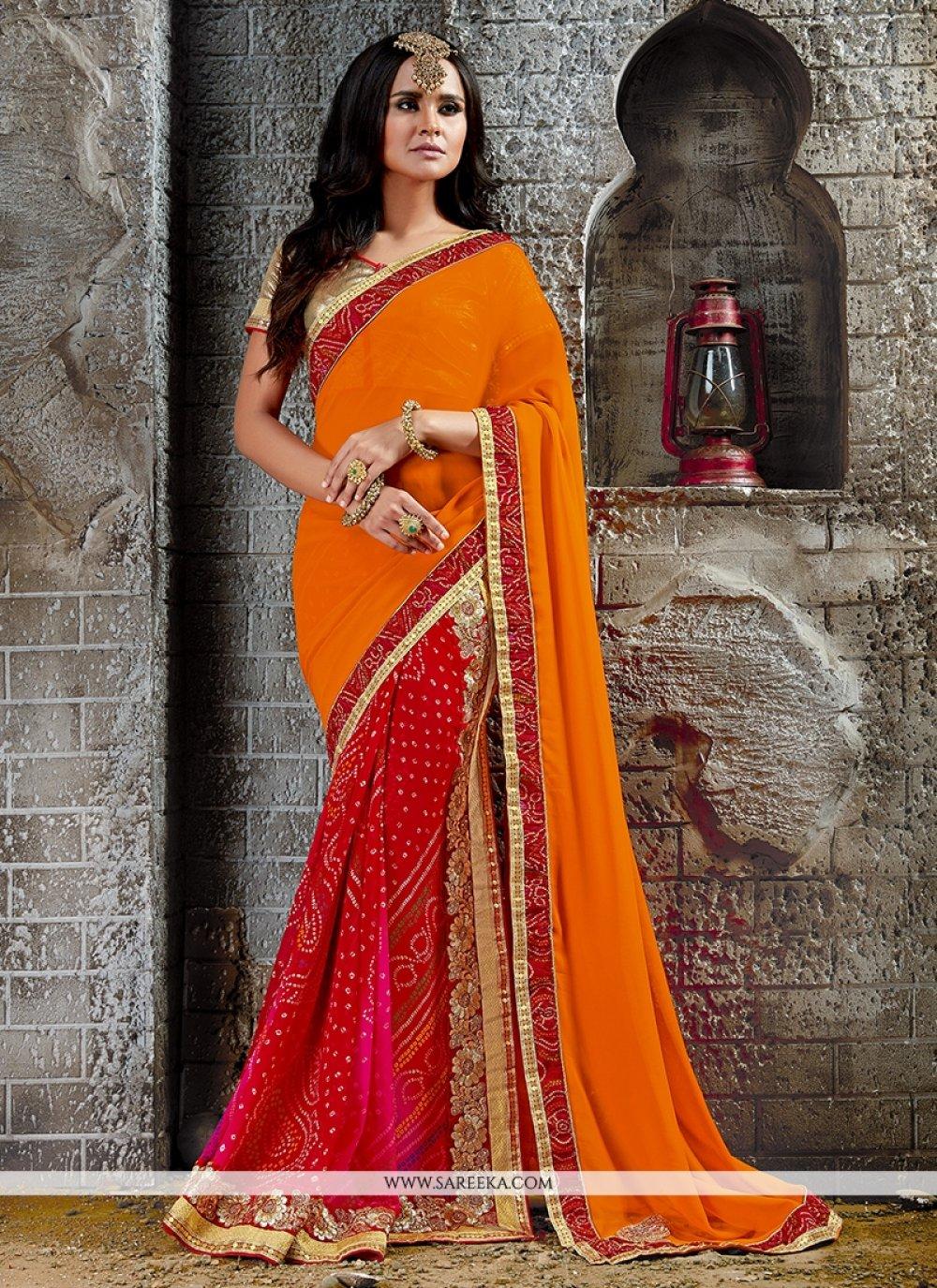Print Work Orange and Red Designer Saree