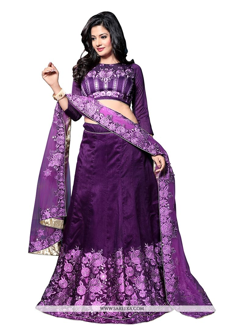 Purple Embroidered Work A Line Lehenga Choli