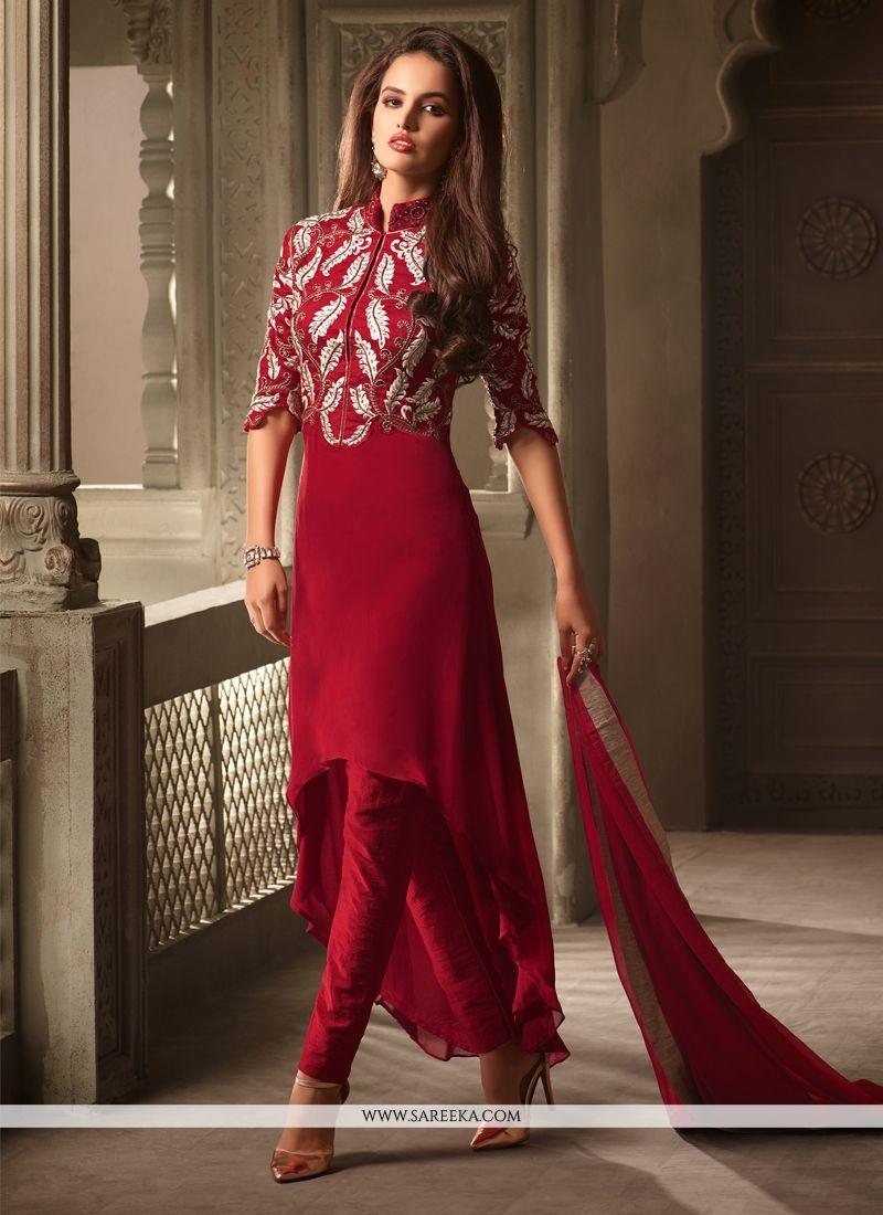 Buy Resham Work Maroon Churidar Designer Suit Online at lowest price -