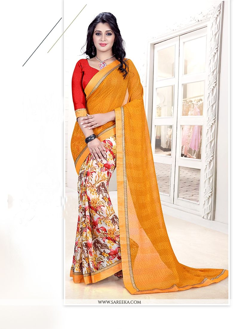Faux Chiffon Multi Colour Casual Saree