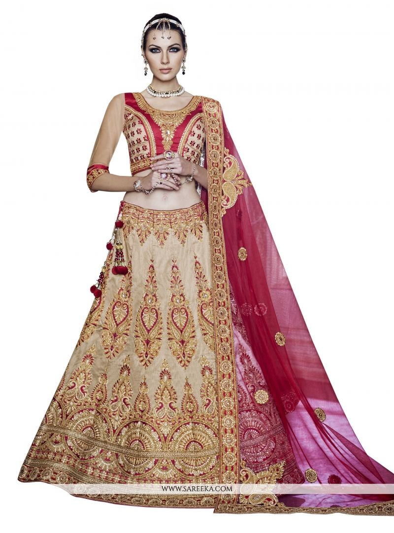 Georgette Beige and Pink A Line Lehenga Choli