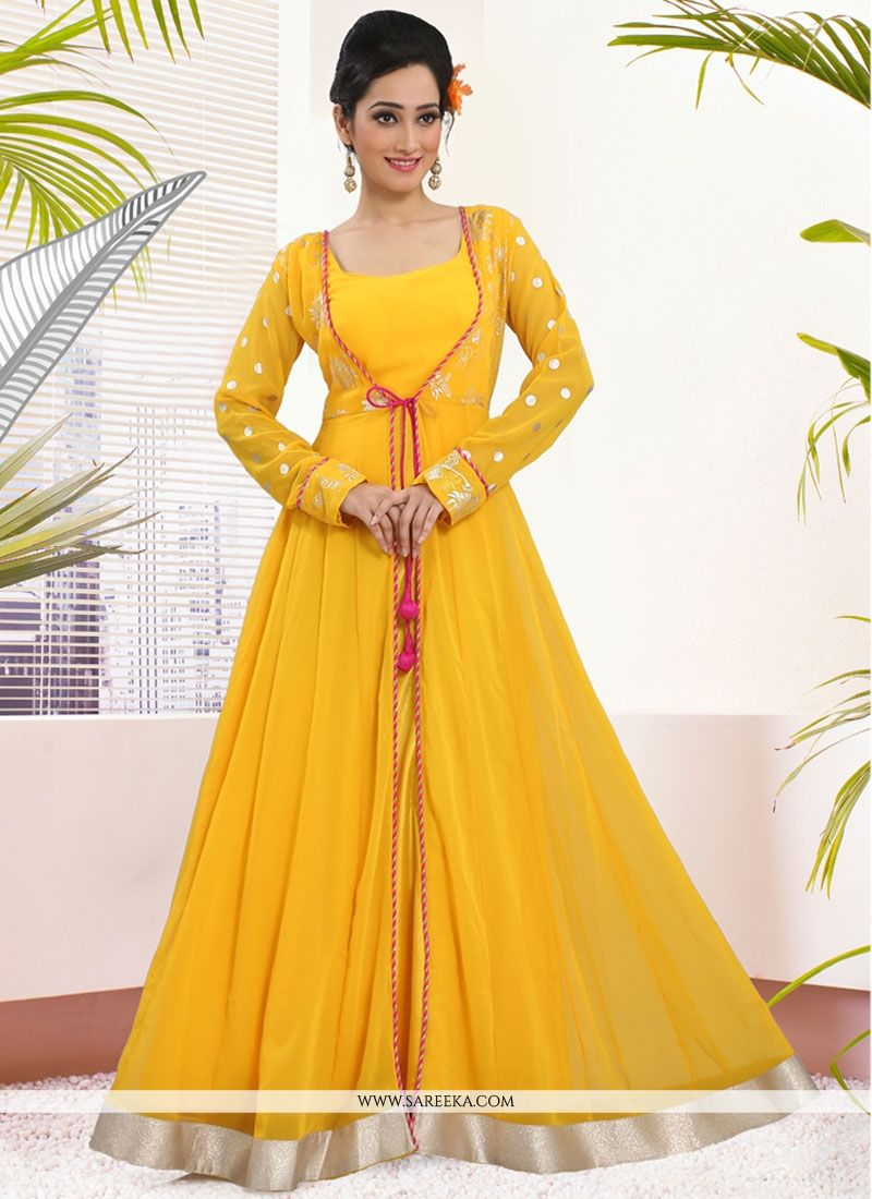 Buy Yellow Georgette Lace Work Readymade Gown Online : Indian Ethnic ...
