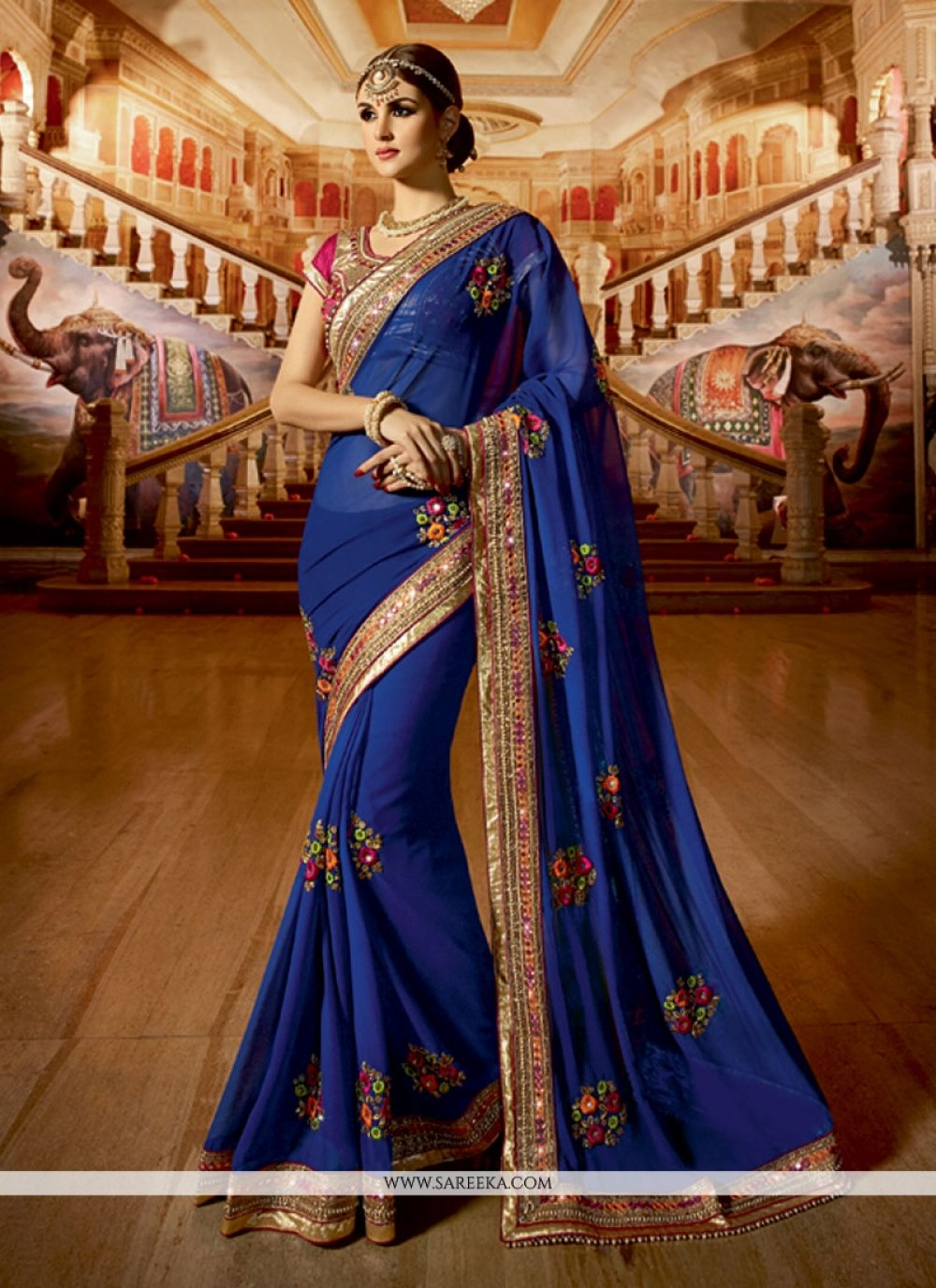 Blue Embroidered Work Georgette Classic Designer Saree