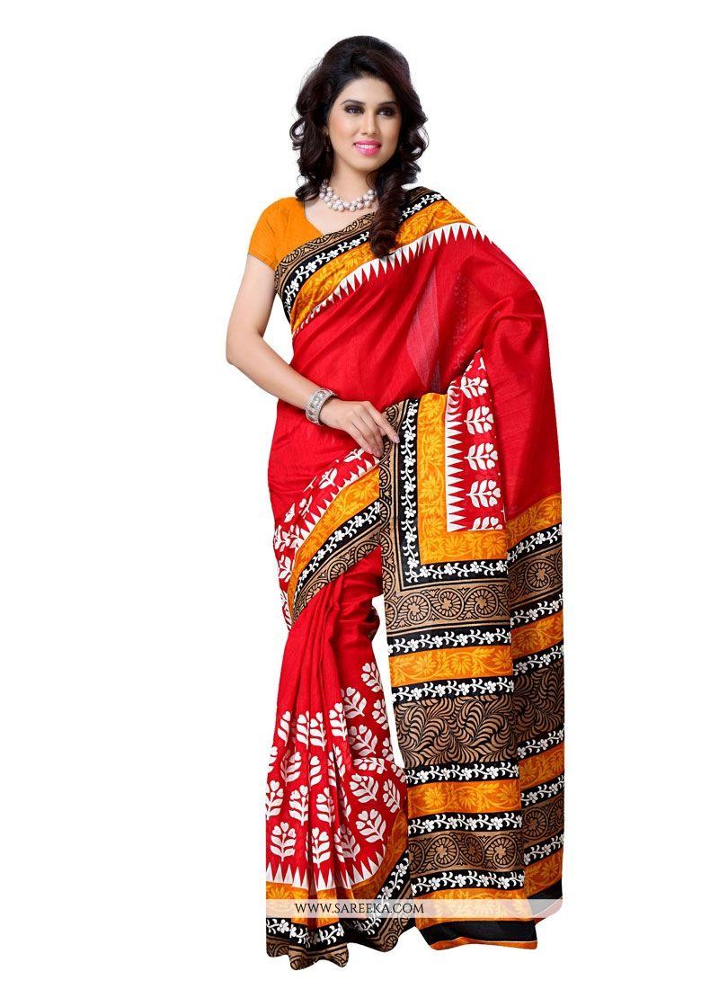 Multi Colour Print Work Art Silk Casual Saree