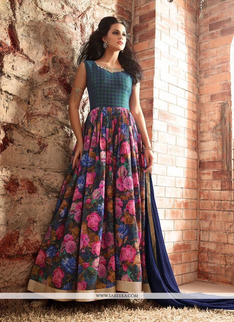 Buy Patch Border Work Multi Colour Designer Floor Length Suit Online ...